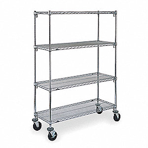 "60""L x 24""W x 69""H Chrome Steel Adjustable Shelf Wire Cart, 600 lb. Load Capacity"
