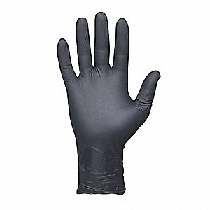"11"" Powder Free Unlined Textured Nitrile Disposable Gloves, Black, Size L, 50PK"