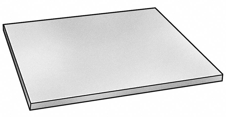 Plate Stock,  304/304L,  Stainless Steel,  Thickness 0.25 in,  Width 6 in,  Length 6 in