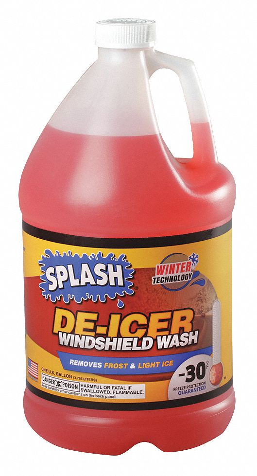 Windshield Washer/De-Icer, 1 gal, Plastic Bottle, All Season, -30 °F Freezing Point (F)