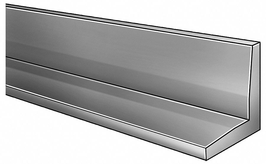 8 ft 6061 Aluminum Angle Stock, 90° 1/4 in Thick, 4 in Leg Length