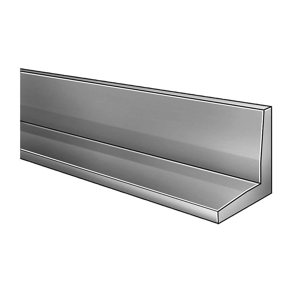 2EYW6 GRAINGER APPROVED Aluminum Angle,Al,6061,1//4 In T,2 1//2 In Leg,8 Ft