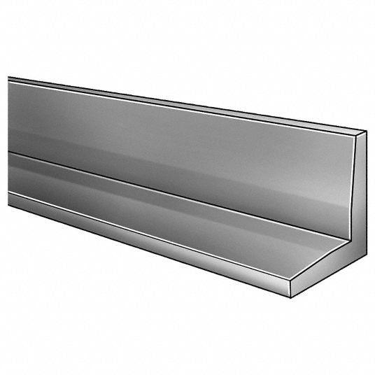 4 ft 6061 Aluminum Angle Stock, 90° 1/8 in Thick, 1 1/2 in Leg Length