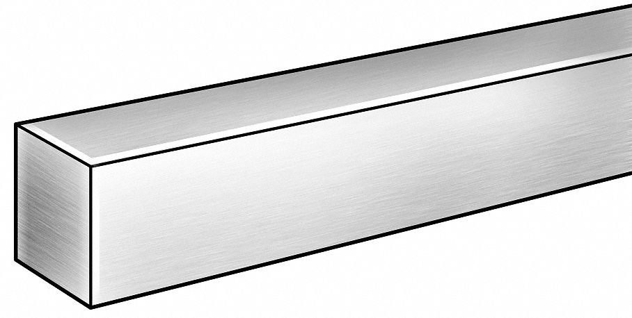 Square Blank Stock,  304,  Stainless Steel,  Thickness 0.25 in,  Width 0.25 in,  Length 6 ft