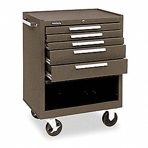 "Brown Heavy Duty Rolling Cabinet, 35"" H X 27"" W X 18"" D, Number of Drawers : 5"
