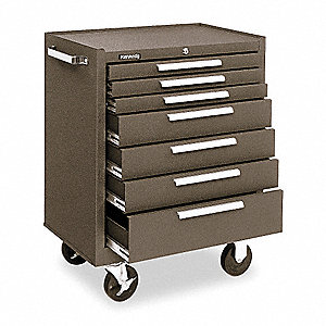 "Rolling Cabinet,27""Wx18""Dx35""H,Brown"