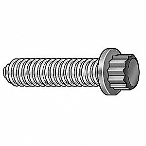 "Alloy Steel 12-Point Flange Head Cap Screw, 1/4""-20 Thread Size, 1""L, Fully Threaded,PK2300"