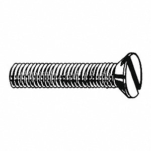"#4-40 Machine Screw, Carbon Steel, 1/2"" L, 100 PK"