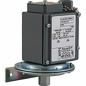 "Standard DPDT Vacuum Switch, Differential: 0.8 to 9""Hg, NEMA Rating: 4, 4X, 13"