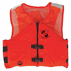 Flotation Vest,Orange,Nylon,XL