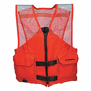 Flotation Vest,Orange,Nylon,L