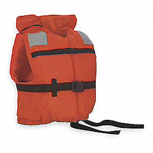 Flotation Vest,Orange,Nylon,Universal