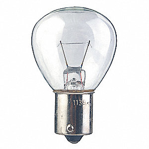 Trade Number 1195, 38 Watts Miniature Incandescent Bulb, RP11, Single Contact Bayonet (BA15s)