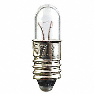 Trade Number 1767-69L, 0.5 Watts Miniature Incandescent Bulb, T1-3/4, Midget Screw (E5), 2.5