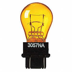 Trade Number 3057NA, 27 Watts Miniature Incandescent Bulb, S8, Plastic Wedge Double Filament (W2.5x1