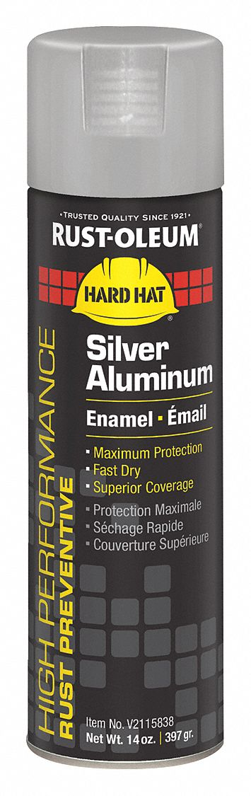 High Performance Rust Preventative Spray Paint in Gloss Silver Aluminum for Metal, Steel, 14 oz