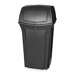 "Ranger® 35 gal. Square Dome Top Utility Trash Can, 41""H, Black"