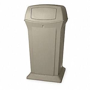 "Ranger® 65 gal. Square Dome Trash Can, 49-1/4""H, Beige"