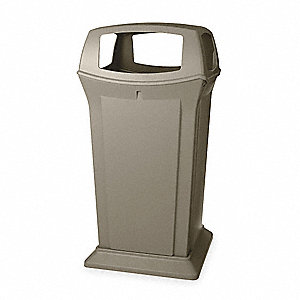 "Ranger® 65 gal. Square Canopy Top Utility Trash Can, 49-1/4""H, Beige"