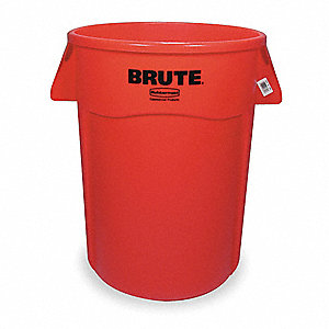 "BRUTE® 44 gal. Round Open Top Utility Trash Can, 31-1/2""H, Red"