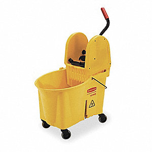 Yellow Polypropylene Mop Bucket and Wringer, 11 gal.