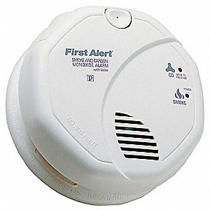 "5"" Carbon Monoxide and Smoke Alarm with 85dB @ 10 ft. Audible Alert; 120VAC, (2) AA Batteries"