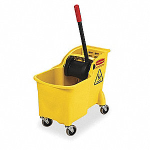 Yellow Polypropylene Mop Bucket and Wringer, 7.75 gal.