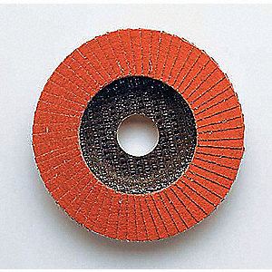 "4-1/2"" Arbor Mount Flap Disc, Type 27, Ceramic, 60 Grit, 7/8"" Mounting Size, 747D"