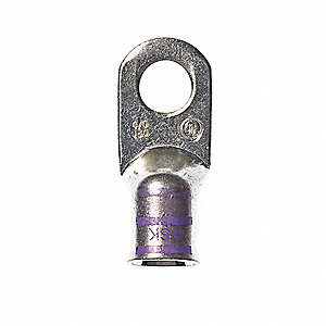 4/0 One-Hole Lug Compression Connector, Straight Barrel, Purple