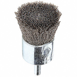 1 in Crimped Wire End Brush, 1/4 in Shank, 0.006 in Wire Dia., 1 in Bristle Trim Length