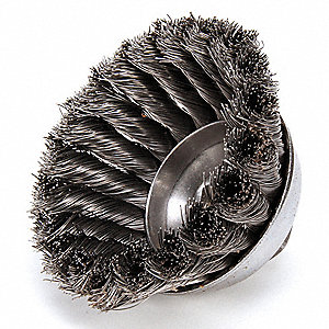 Cup Brush,Threaded Arbor,3-1/2 In.