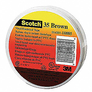"Vinyl Electrical Tape, Rubber Tape Adhesive, 7.00 mil Thick, 1/2"" X 20 ft., Brown, 100 PK"