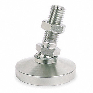 "Leveling Mount, Swiveling Stud, 1000 lb. Load Capacity, 3-3/16"" Height, Nickel"