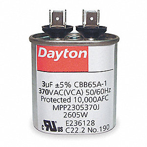 Oval Motor Run Capacitor,45 Microfarad Rating,440VAC Voltage