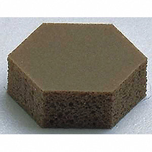 "Light Brown Self Adhesive Bumper, Hexagon Die-Cut Shape, 0.433"" Width, 0.125"" Length"
