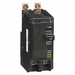 Bolt On Circuit Breaker, 100 Amps, Number of Poles:  2, 120/240VAC AC Voltage Rating
