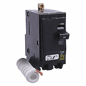 Bolt On Circuit Breaker, 40 Amps, Number of Poles:  2, 120VAC AC Voltage Rating