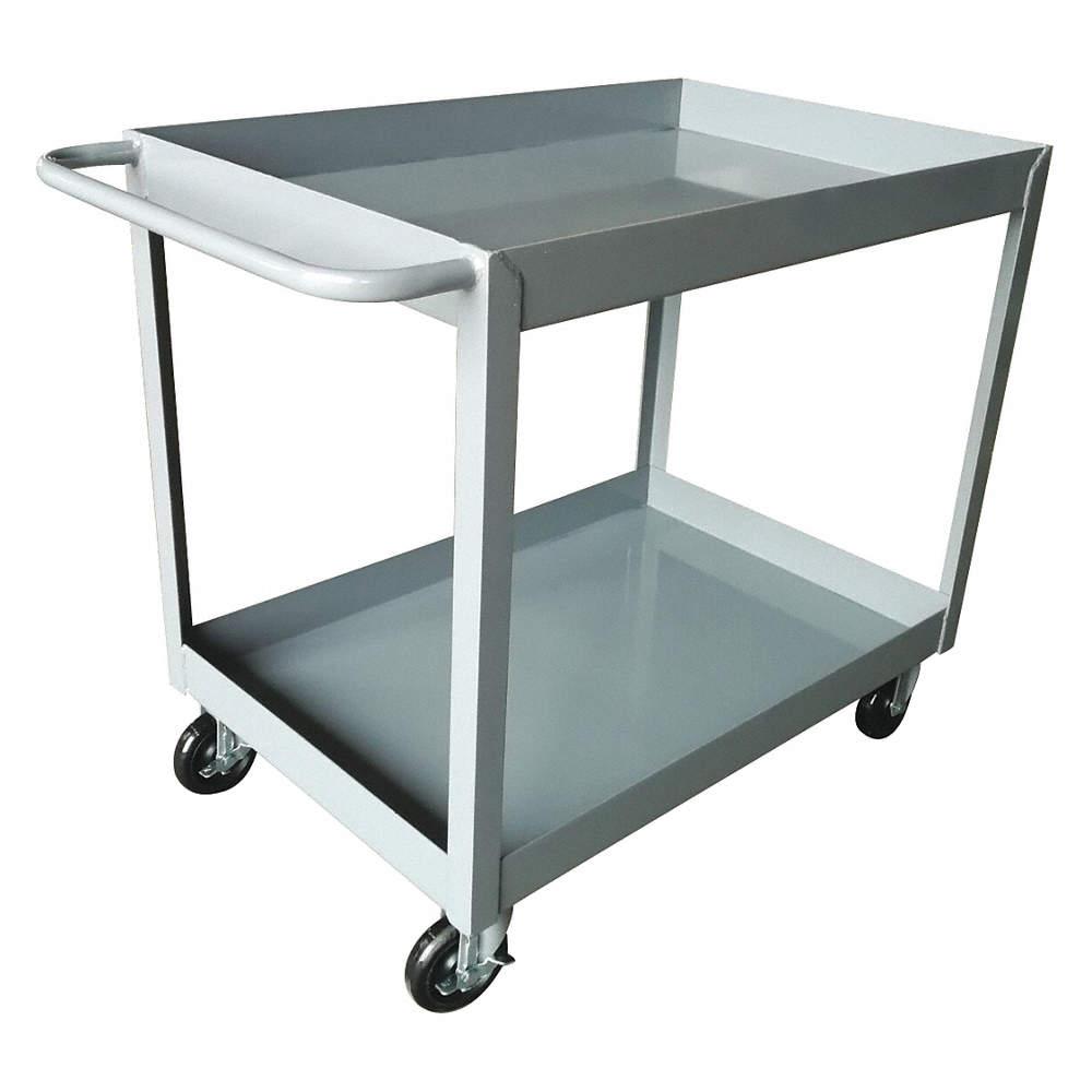 GRAINGER APPROVED Steel Flat Handle Deep Shelf Utility Cart, 1200 lb ...