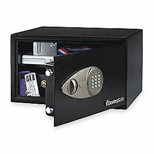 "16-15/16"" x 14-9/16"" x 8-7/8"" Security Safe, Black&#x3b; Holds Laptop, Power Cord"