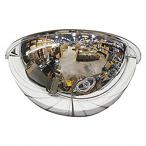 "Indoor Acrylic Half Dome Mirror, 180° Viewing Angle, 18"" Dia., Wall/Ceiling Mountable"