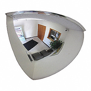 "Indoor Acrylic Quarter Dome Mirror, 90° Viewing Angle, 32"" Dia., Wall/Ceiling Mountable"