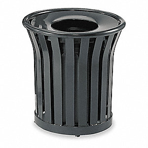 Trash Can,24 gal.,Black,Steel