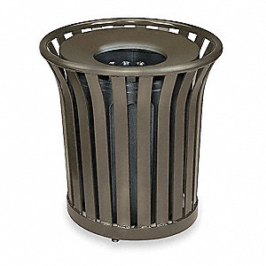 "Americana Series  36 gal. Round Open Top Trash Can, 32-1/2""H, Green"