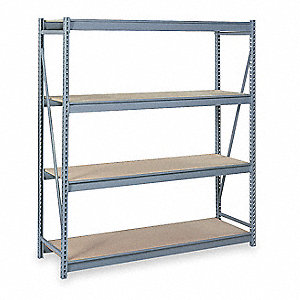 "Starter Bulk Storage Rack with Particle Board Decking and 4 Shelves, 48""W x 48""D x 96""H"