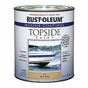 Sand Beige Marine Coating, Gloss Finish, 100 sq. ft./gal. Coverage, Size: 1 qt.