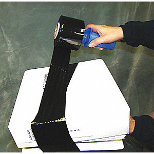 "Stretch Wrap, Hand Dispensed, 1-Side Cling, Opaque, 3"" x 1000 ft., Gauge: 80, Black"