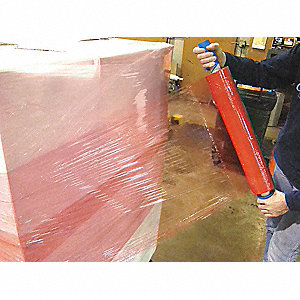 "Stretch Wrap, Hand Dispensed, 1-Side Cling, Standard, 20"" x 1000 ft., Gauge: 80, Red"