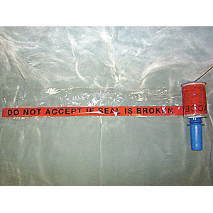 "Printed Stretch Wrap, Black Print On Red Background, 500 ft. Length, 5"" Width, 80 Gauge"