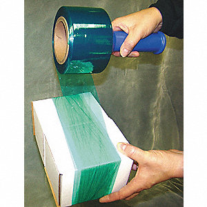 "3"" x 1000 ft. Linear Low Density Polyethylene Hand Stretch Wrap, 80 Gauge, Green, 4PK"