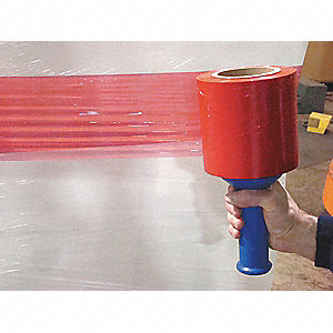 "Stretch Wrap, Hand Dispensed, 1-Side Cling, Standard, 5"" x 1000 ft., Gauge: 80, Red"